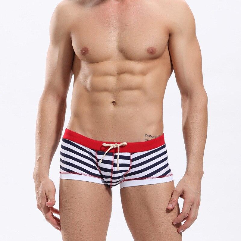 Stripes Sexy Mens Trunks Swimwear Swimsuit Nylon/Spandex Low Rise Gay Man Beach Bikini Swimming Boxer Shorts Board Wear