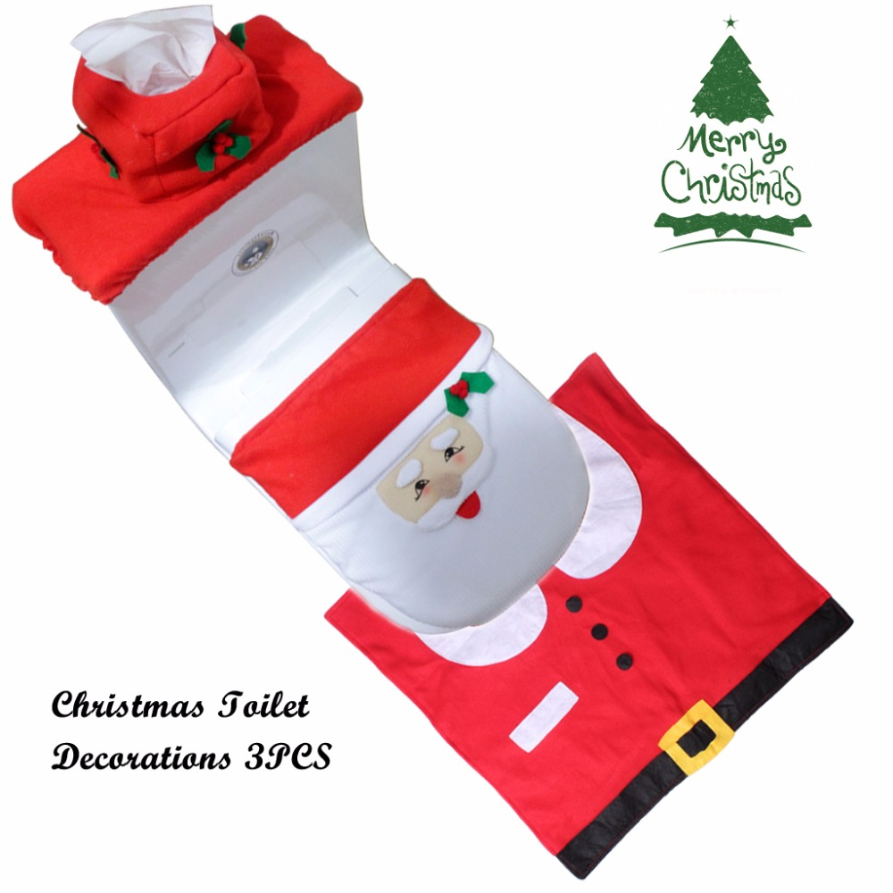 Set Of 3 Santa Claus Toilet Covers Christmas Decorations Set With Toilet Seat Cover Tank Cover And Rug Bathroom Decorations (4)