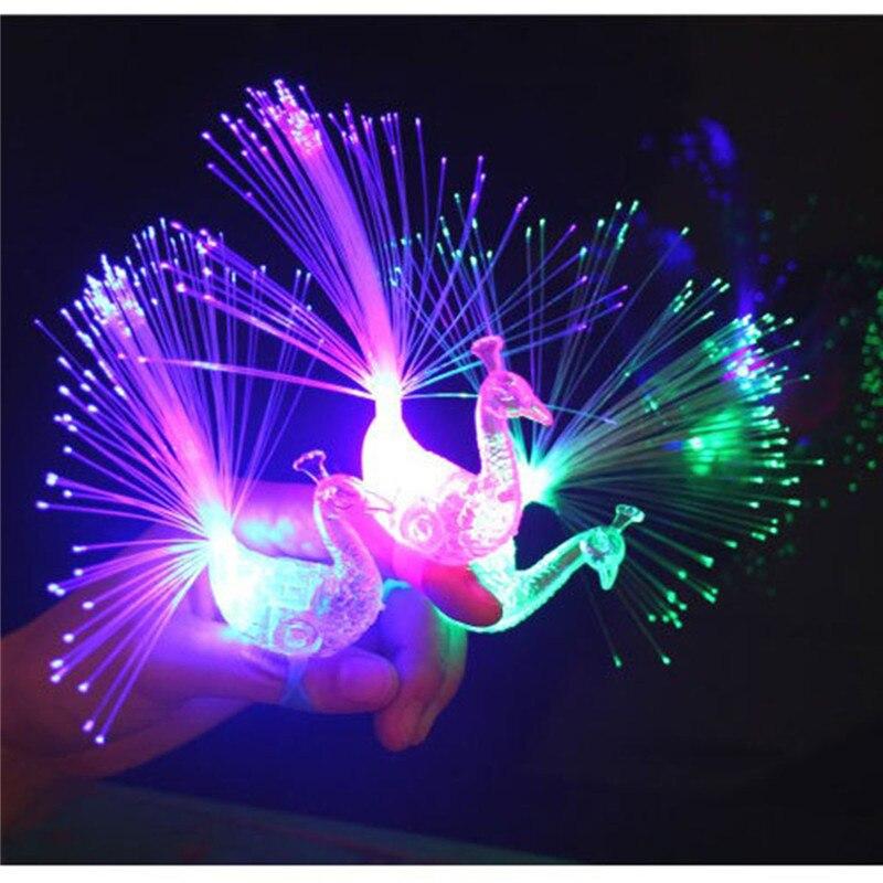 1pc Peacock Finger Optic Fiber Light Color Led Lamp Kids Optical Fiber Finger Light Educational Plastic Finger Toy