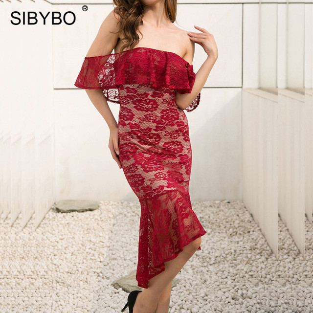 Sibybo Lace Dress Sibybo Off Shoulder Floral Embroidery Lace Dress Women Fashion Strapless  Backless Elegant Party Dress Red Summer Women Dress