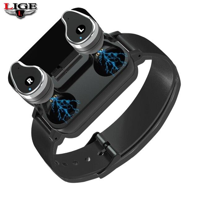 Smart Bracelet LIGE Ladies Wireless Bluetooth Headset Smart Bracelet Mens Fitness Tracker Sphygmomanometer USB dData Cable+ Box