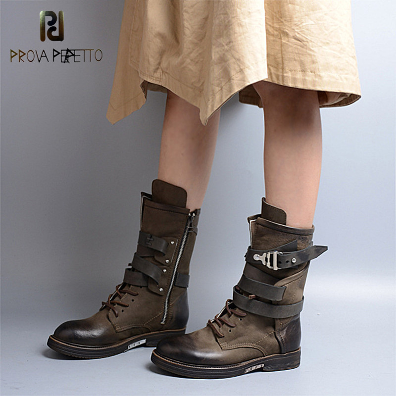 Prova Perfetto Fashion Genuine Leather Lace Up Zipped-side Belt Buckle Motorcycle Boot Retro Round Toe Army Green Low Heel BootsProva Perfetto Fashion Genuine Leather Lace Up Zipped-side Belt Buckle Motorcycle Boot Retro Round Toe Army Green Low Heel Boots