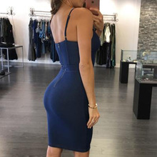 WYHHCJ 2017 Sexy backless denim dress Women vintage bodycon summer dress Beach party short dresses casual blue hot