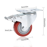 4pcs 3 PVC Heavy Duty Swivel Caster Wheels With Brake 880 Lbs Ues For Shopping Cart