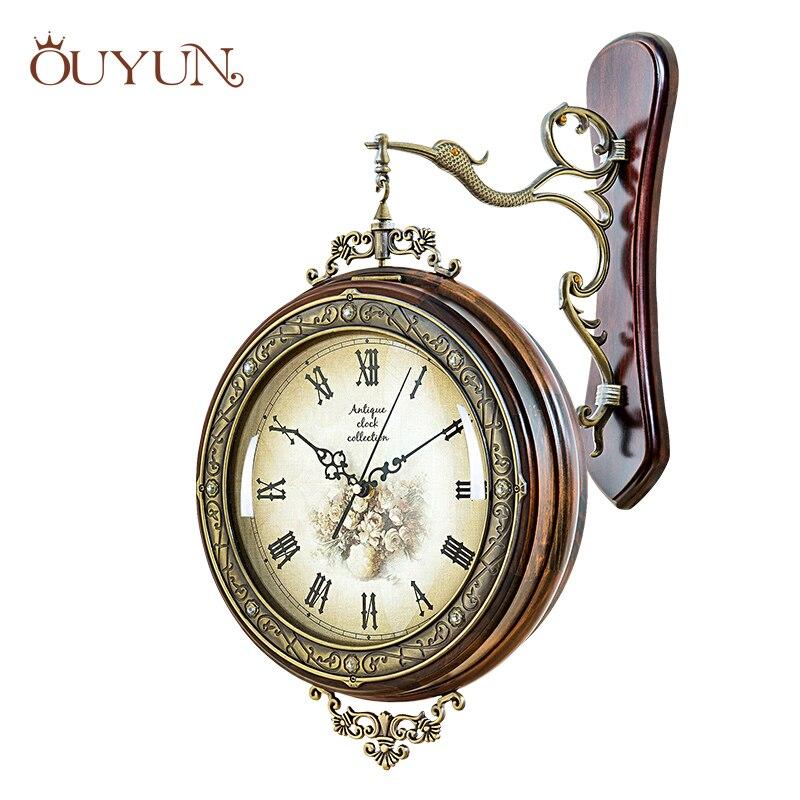 OUYUN Grand Antique En Bois Horloge Murale Moderne Design D'intérieur Personnalisé Chiffre Romain Horloge Murale Salon de Luxe Ensembles