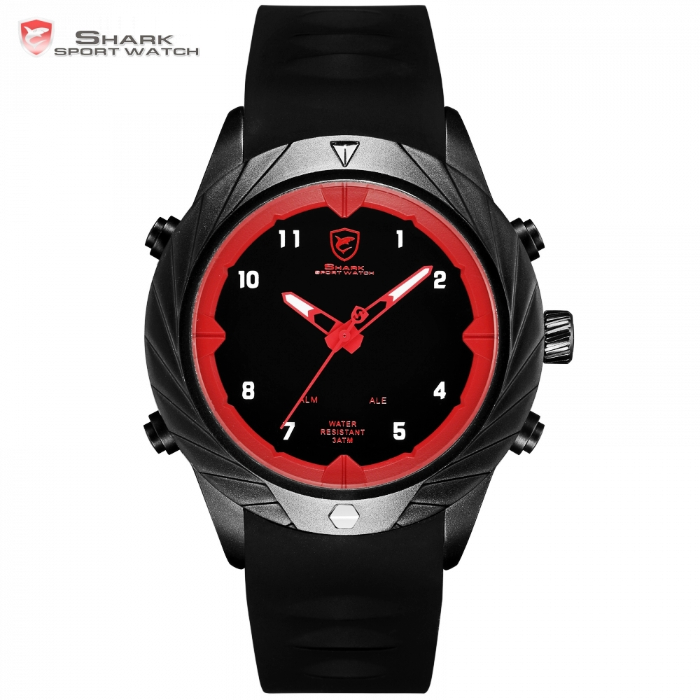 Shark Sport Watch 3ATM Water Resistant Alarm LED Digital Display Wristwatch Black Silicon Brand Relogio Masculino Clock / SH578Shark Sport Watch 3ATM Water Resistant Alarm LED Digital Display Wristwatch Black Silicon Brand Relogio Masculino Clock / SH578