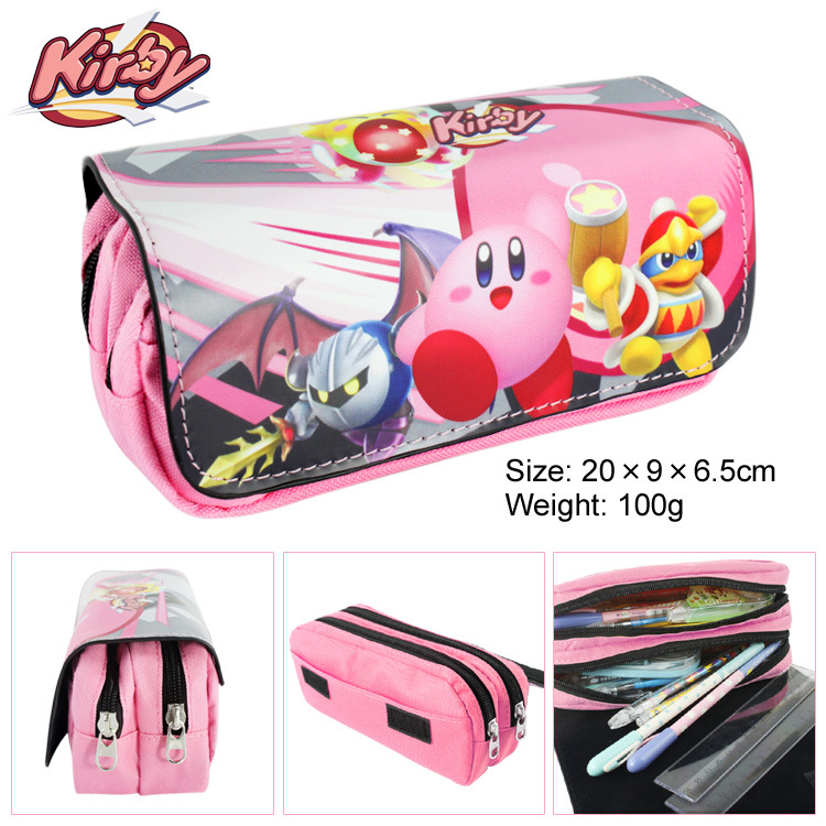 Kirby Canvas Double Zipper Pencil Bag Anime Pencil Case Kids Girl Gift Stationery Container School Supplies