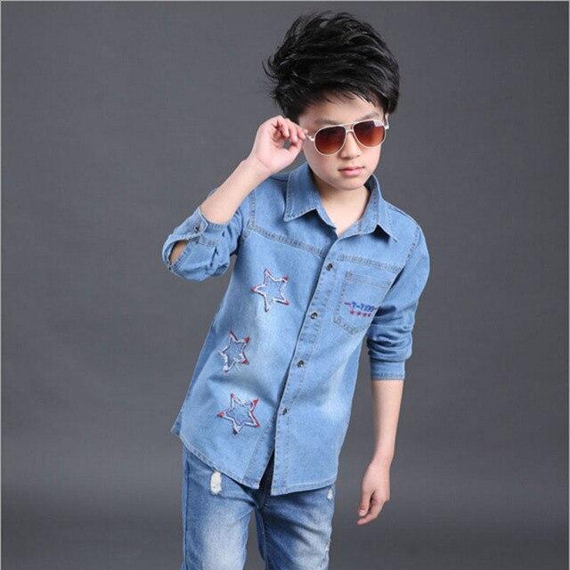 Dei Bambini Camicia Casual Ragazzi Outwear Vestiti Jeans 54AqcR3jLS