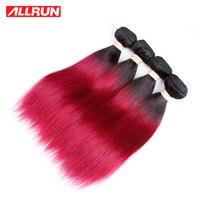 Allrunペルーストレートヘア織りオンブル人間の髪バンドル1ピース12
