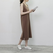 V-neck Sleeveless New Maxi Dress Slim Cotton Long Dress Women Solid Color Loose Split Hem Dress For Summer Pretty Vestidos D168 plus split hem solid cami dress