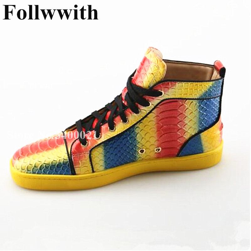 2018 Follwwith Mixed Color Chaussure Homme Embossed Snakeskin Leather High Top Lace Up Flats Casual Men Shoes Sapato Masculino 2016 canvas shoes men casual shoes men high top chaussure homme valentine to waterproof shoes summer boots 4 color unisex d084