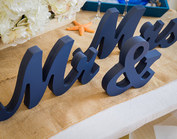Mr And Mrs Wedding Signs Mr & Mrs Wooden Letters Glittered