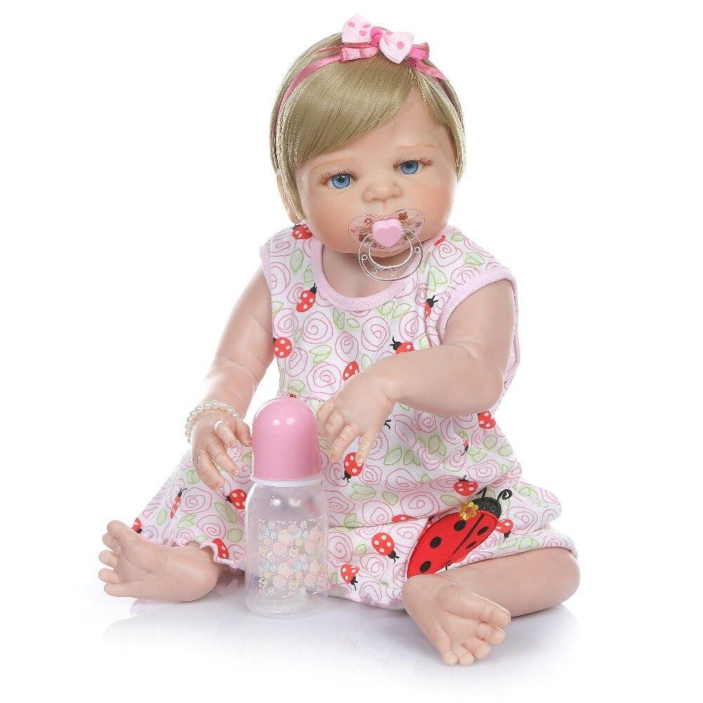 56 CENTIMETRI bebe bambola del bambino rinato ragazza bionda dei capelli neonato victoria corpo pieno di silicone giocattolo del Bagno morbida reale di tocco impermeabile-in Bambole da Giocattoli e hobby su  Gruppo 2