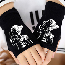 Anime One Piece Monkey D Luffy Half Finger Cotton Knitting Wrist Gloves Mitten Lovers Accessories Cosplay Fashion