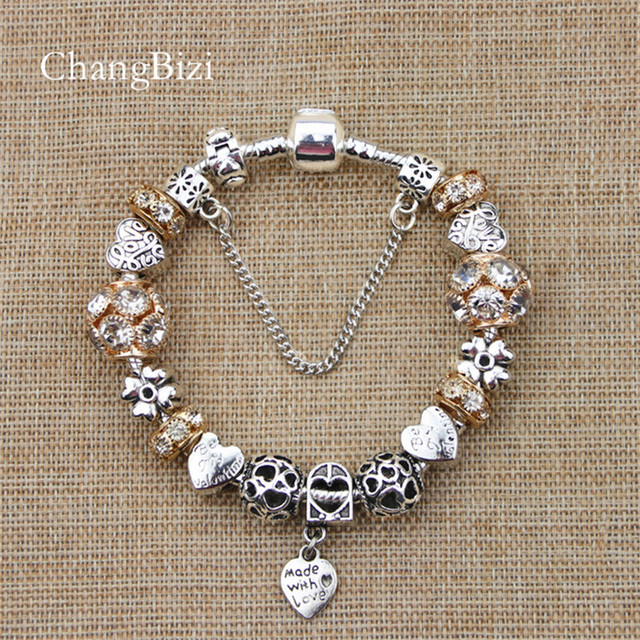 Yilianfei Silver Plated Female Bracelet With Flower Pendant Charms Pandora Bracelets For S Best Gift Bt0011