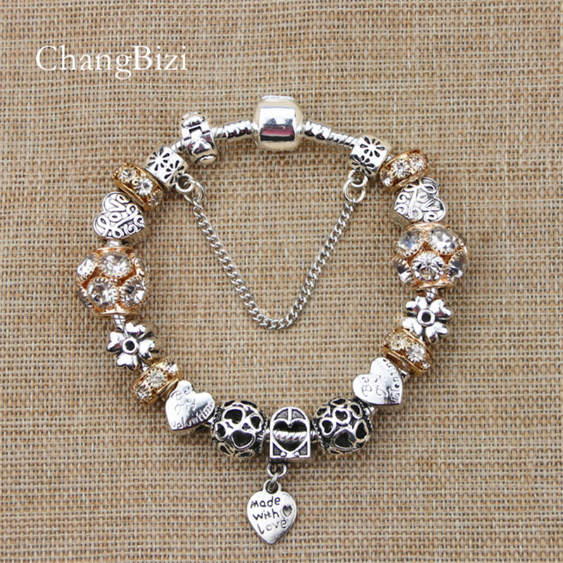 YILIANFEI Silver Plated Female Bracelet with Flower Pendant Charms Pandora Bracelets for girls Best Gift BT0011