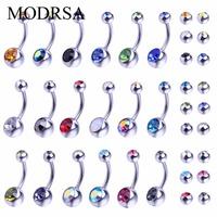 MODRSA 36pcs Piercing Navel Surgical Steel Crystal Rhinestone Belly Button Rings Navel Piercing Ombligo 5 8mm