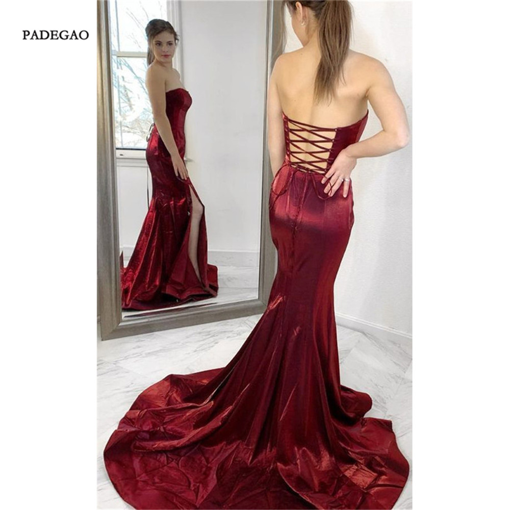 Wine Red   Evening     Dresses   Mermaid Strapless Long Party   Dress   Sexy Sweep Train Floor Length Lace Up Side Split   Evening   Gown