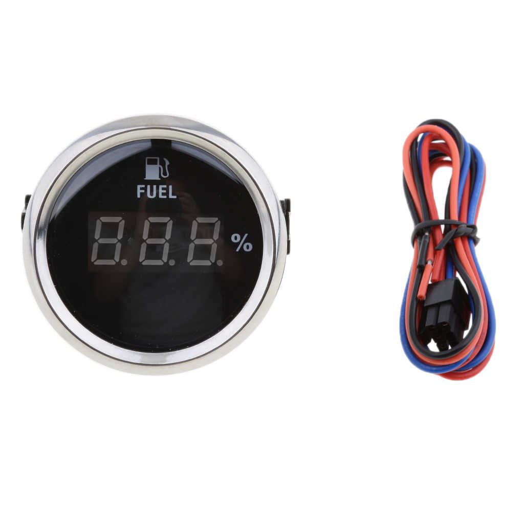 2' 52 Mm Hitam Chrome Bahan Bakar Digital Level Gauge 0-190ohm Sinyal Indicador De Nivel Bensin Jauge De Carburant Auto bagian