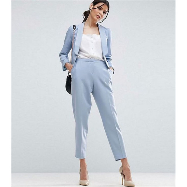 Women Pant Suits Light Sky Blue Work Wear For Ladies Pant Suits