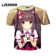 LIASOSO Impressão 3D Homens Mulheres Tshirt Verão Anime Nekopara Chocolat  Baunilha X0833 Das Meninas Bonitos T-shirt Hip Hop Pul. 9bd2177277b
