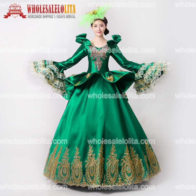 2017 Royal Green Embroidery Vampire Queen Masquerade Ball Gown Marie Antoinette Southern Belle Dress Theatrical Clothing