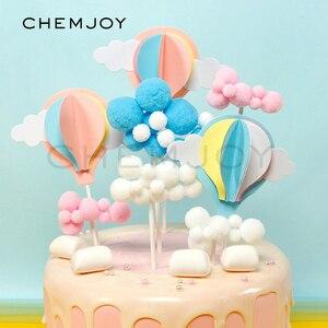 2 uds. Globos de aire caliente rosa azul, adornos para tarta, Baby Shower, género, decoración para fiesta, decoración para bebé, 1er decoraciones torta de cumpleaños