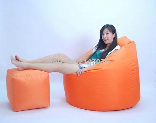 En plein air étanche orange jardin bean sac ensemble, sac de haricots chaise avec pied tabouret