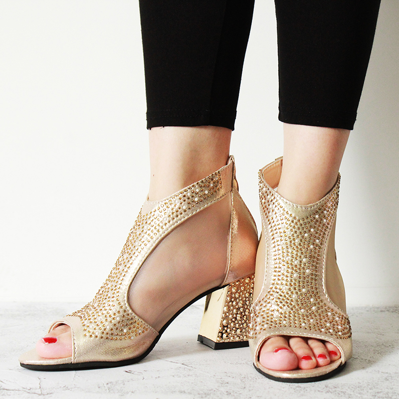Women Sandals Wedding-Shoes Square Heel Diamond High-Heels Summer Fashion Mujer