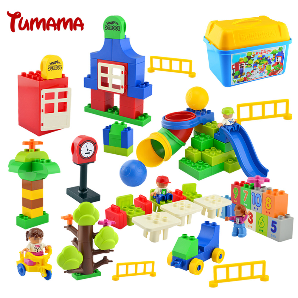 Tumama 106PCS Big Size Building Blocks School Class Bricks Birthday Gift DIY Educational Toys For Children Compatible with Duplo superwit 72pcs big size city diy creative building blocks brick compatible with duplo sets lepin educational toys children gifts
