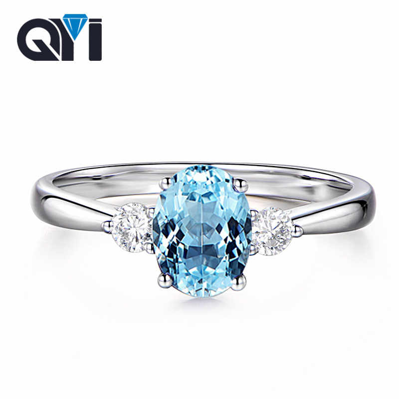 QYI Trendy Blue Topaz Three Stone Ring 925 Sterling Silver Women Wedding Party Jewelry Oval Cut Gemstone Engagement Rings