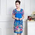 2015 Corea Moda Gasa de Las Mujeres vestidos de Cuello Redondo Vestido Ocasional vestido de verano