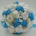 Artificial wedding bouquets OEM customized silk rose flower beaded rhinestone crystal bridal bouquets supplies white blue