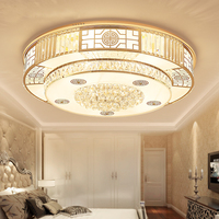 Chinese Crystal LED Ceiling Lamp Circular Bedroom Golden Atmosphere Hall Dining Room Lamp Living Room Ceiling