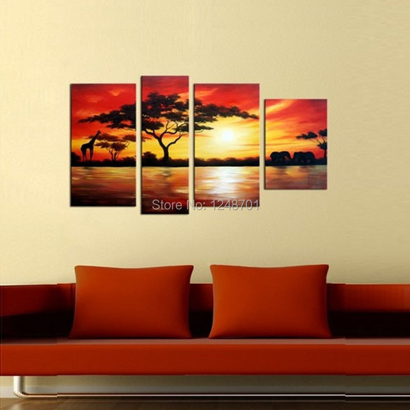Handpainted 4 Piece Large Africa sunset secnery oil painting with ...