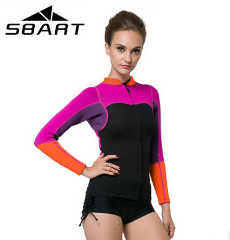 SBART 2017 Neoprene 2MM Wetsuit Women 's Swim Shirt Long Sleeve Diving Surfing Jacket Kiteboard Wetsuits Top sbart upf50 rashguard 2 bodyboard 1006