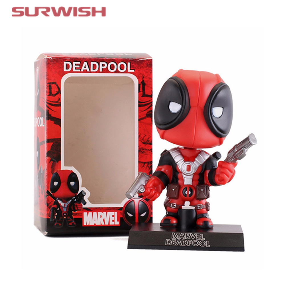 Surwish Deadpool Figure Toy Wacky Wobbler Bobble Head Action Figures Doll 13.5cm With Base  funko pop marvel loki 36 bobble head wacky wobbler pvc action figure collection toy doll 12cm fkg120