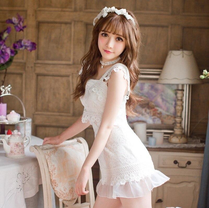 Princesse sweet lolita robe De Sucrerie pluie doux d'été Japonais style Blanc dentelle rafraîchissant robe chasuble C16AB6096