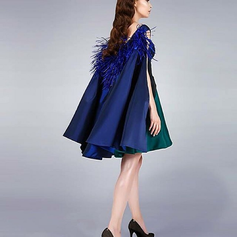 Unique Mix Color Formal Party Dress For Women 2016 Royal Blue Green With Cloak  Mini Gowns Black Pleat Feather Cocktail Dresses-in Cocktail Dresses from ... bc3929ab6720