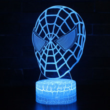 Super Hero Spiderman theme 3D Lamp LED night light 7 Color Change Touch Mood Lamp Christmas present Dropshippping