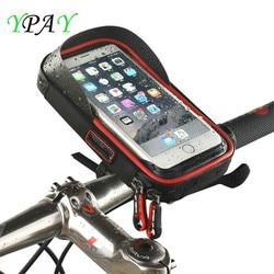 YPAY wodoodporny rower 6.4 cal torba uchwyt na telefon do telefonu komórkowego pakiet do montażu na iPhone 8 X jazda na rowerze ekran dotykowy GPS