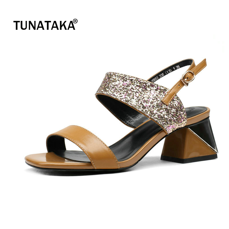 Genuine Leather Comfort Square High Heel Open Toe Woman Sandals Fashion Buckle Bling Dress Shoes Woman Beige Brown hot selling pleated bling woman sandals fashion high heel slipper open toe slide dress sandals concise comfortable sandals