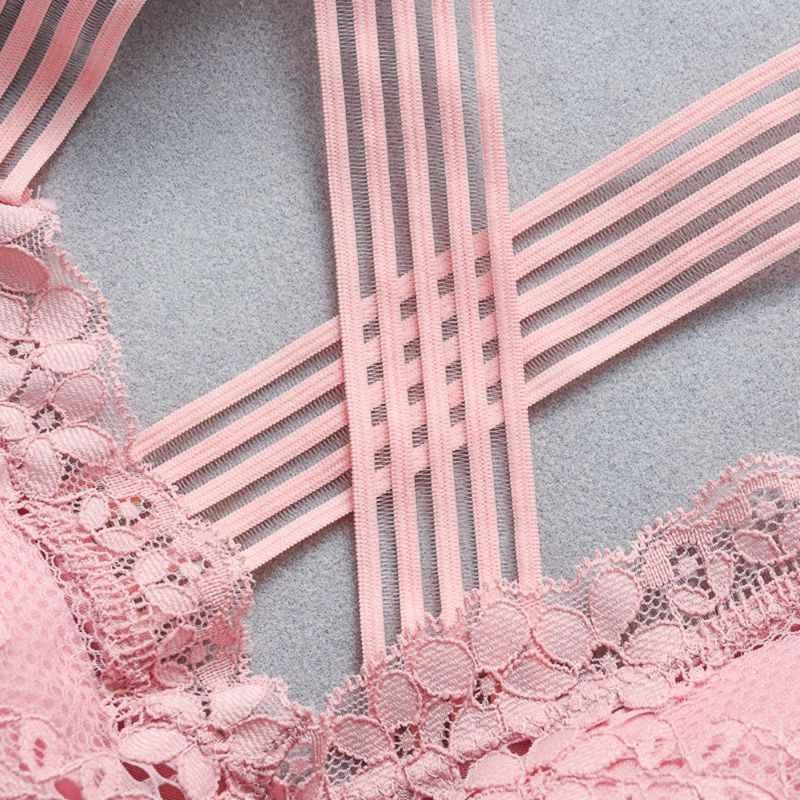 Moda na co dzień kobiety Lady koronkowy pasek biustonosze topy Tube Ch Wrap bielizna kobieca krzyż piękny tył podkoszulki