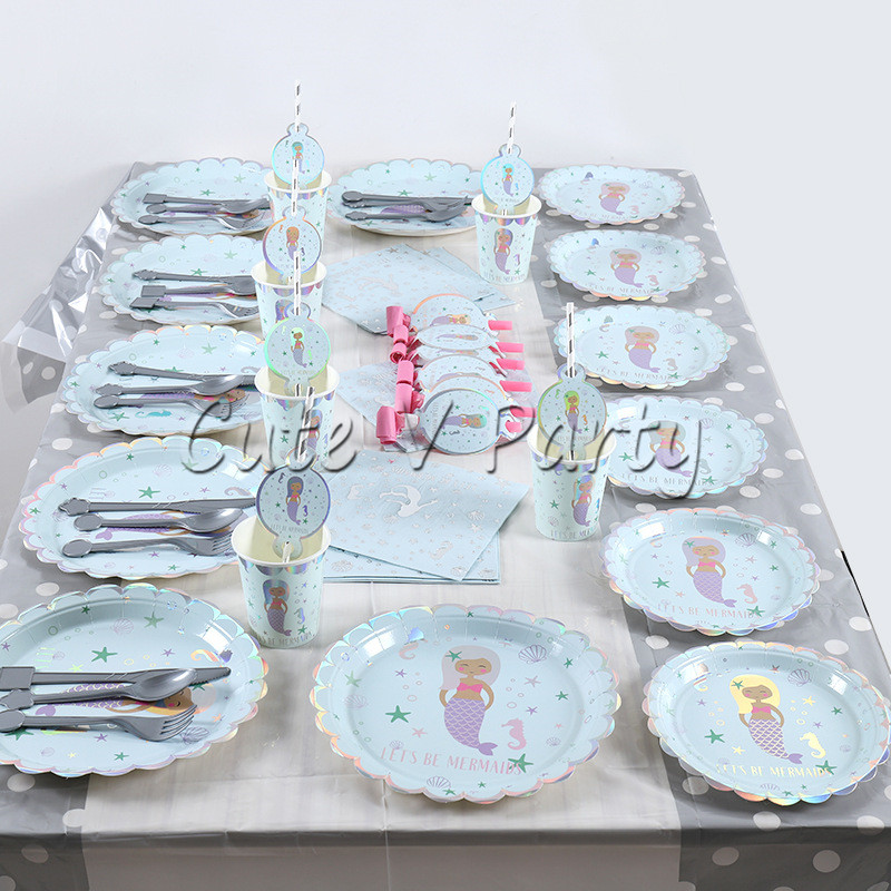 59pcslot Cartoon Mermaid Hot Stamping Disposable Tableware Theme Party Birthday Wedding Plate Cup Napkin Party Supplies