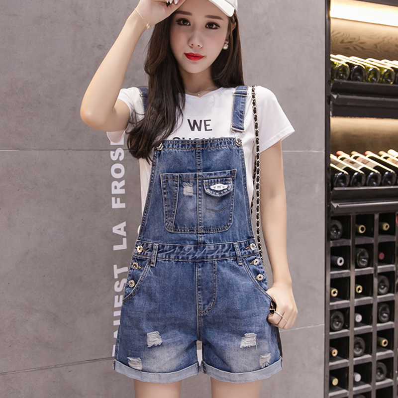 Rompers Women Jean   Jumpsuit   Summer Denim Playsuit Overalls Women Casual Loose Wide Leg Short   Jumpsuit   Plus Size Combishort Femme