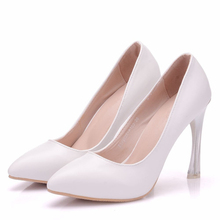 2019 New Fashion Comfortable High Heel Ladies Shallow Mouth Classic White Sexy Prom Wedding Dress Shoes Womens XY-A0208