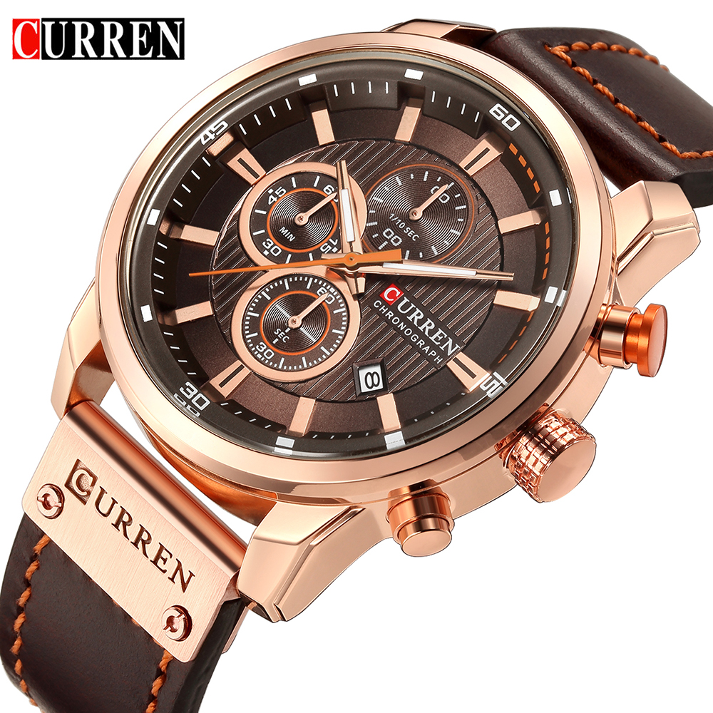 Leather Strap Quartz Casual Date Male Wristwatches Clock Montre Homme 2019