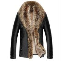 Ailooge 2017 chaqueta de cuero de cordero Cuero auténtico chaqueta gruesa mapache Pieles de animales collar jaqueta couro Masculino