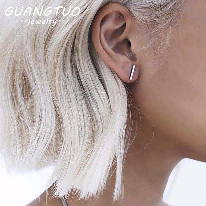 Fashion Geometric Rectangle T Bar Simple Stud Earring For Women Gold Silver Punk Minimalism Ear Stud Party Jewelry Gift EB947