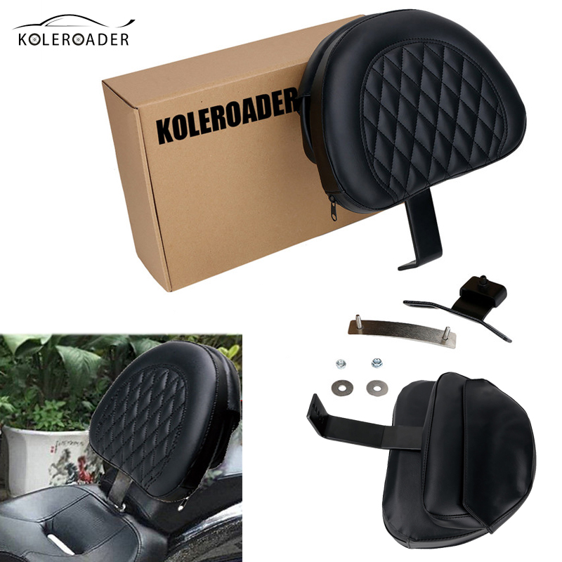 KOLEROADER Detachable Adjustable Plug-in Driver Rider Seat Backrest Cushion Leather Pad For Harley Fatboy Heritage Softail 07-17 motorcycle front rider seat leather cover for ktm 125 200 390 duke